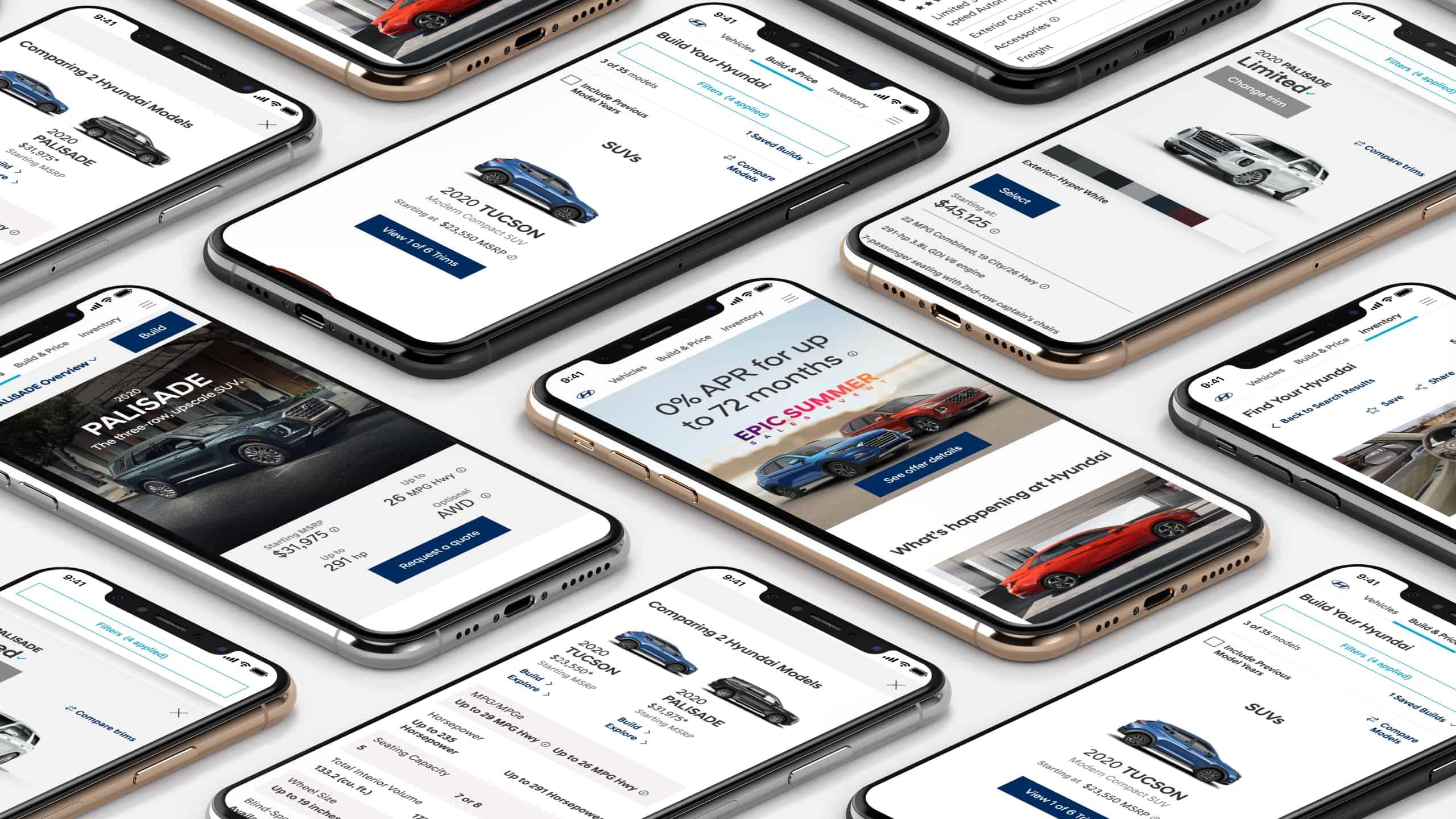 Screenshots of Hyundai USA on smartphone